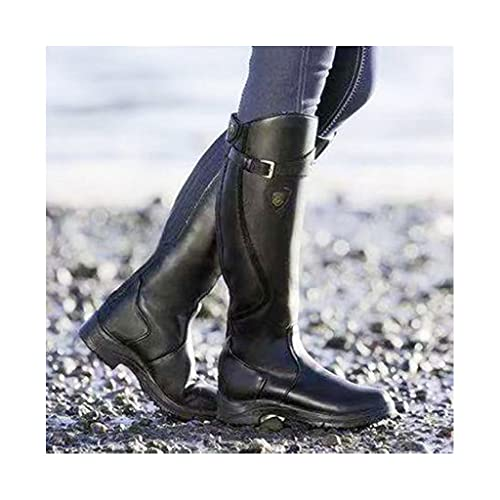SJDFK Botas Altas hasta la Rodilla Occidentales para Mujer,Zapatos ecuestres Cuero de tacón bajo,Zapatos ecuestres con Punta Redonda, Zapatos Motocicleta Caballero Gran tamaño,Black-36