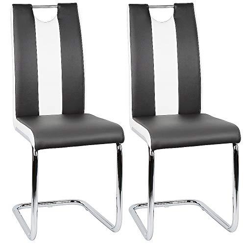 Flyelf Freischwinger Stuhl Vegas 2er Set Esszimmerstühle für Küche/Esszimmer/Büro (Schwarz - Weiß, 2)