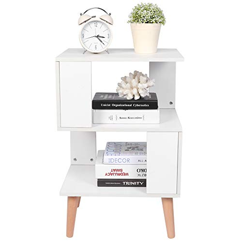 Side Table Nightstand Sofa Side Snack Table Bedside Storage Organiser Cabinet End Table Furniture with Open Front Storage Compartment and Solid Wood Legs for Home Office Living Room Bedroom(White)