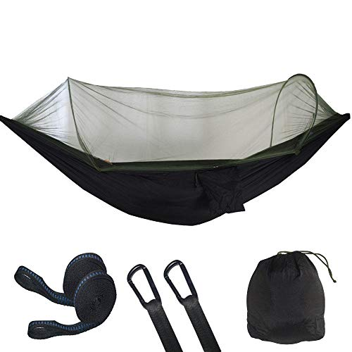 PortableDoubleHaven Tent Hammock with Storage Bag + Strap,300kg Load Capacity (290x140cm) Black Hanging Rope Hammock for Indoor Hiking Backpacking Backyard Outdoor