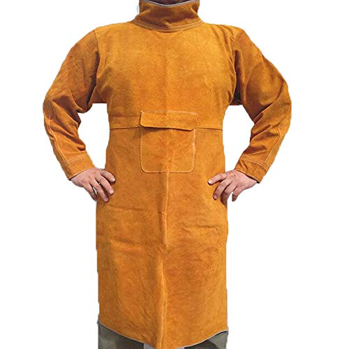 Jewboer Leather Welding Apron Jacket Anti-scald Work Apron Heavy Duty Weld Coat Clothes with Neck Sleeves(XL)