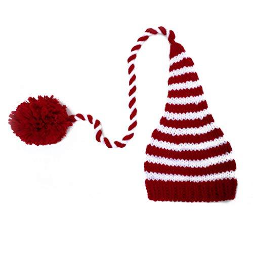 suoryisrty Baby Strick Long Tails Weihnachtsmütze Fotografie Requisiten Streifen Häkeln Babymützen Baby Requisiten Für Fotografie - Rot & Weiß