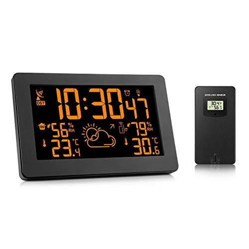QAZW Estaciones Meteorológicas con Sensor Interior Al Aire Libre Relojes Inalámbricos De...