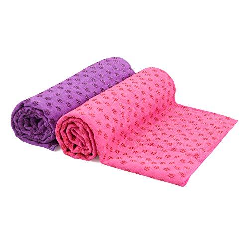 voidbiov Microfibra Toalla de Yoga Antideslizante para Hot Yoga con Malla Bolsa de Transporte(4 Colores), Secado Rápido Toalla Extra Larga(185 x 62 cm, 73' x 24') (Rosa Roja+Morado)