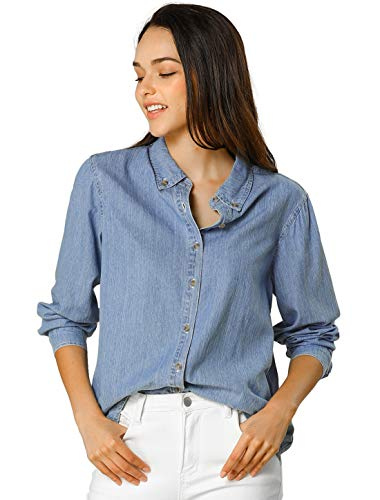 Allegra K Camisa Vaquera Manga Larga Botón Arriba Suelto Clásico para Mujer Azul Claro S