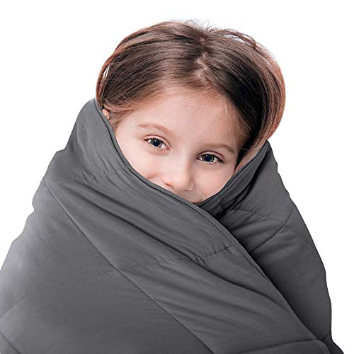 Luna Kids Weighted Blanket - Individual Use - 5 Lbs - 36x48 - Child Size Bed - 100% Oeko-Tex Cooling Cotton & Glass Beads - USA Designed - Heavy Cool Weight - Dark Grey