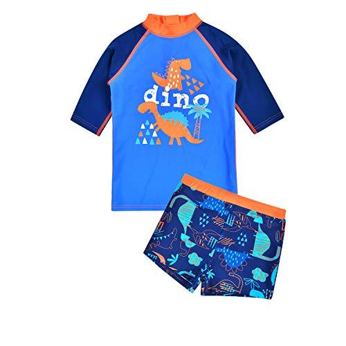 Kinder Jungen 2-teiliger Schwimmanzug, UV-Schutz 50+ Jungen Uv-Schutz Bade-Set Maritim Schwimmbekleidung (Dinosaurier - Königsblau, 125cm - 135cm)