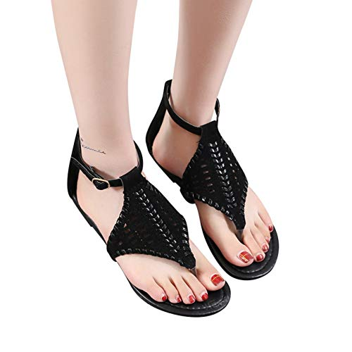 smilebuy NUSGEAR Sandales Plates Femmes Confortables Orthopedique Chaussures Plateforme - 2021 Newest Été Sandales Femmes Sandales Plates Toe T-Sangle Comfy Semi Trailer Sandales Chaussures de Plage