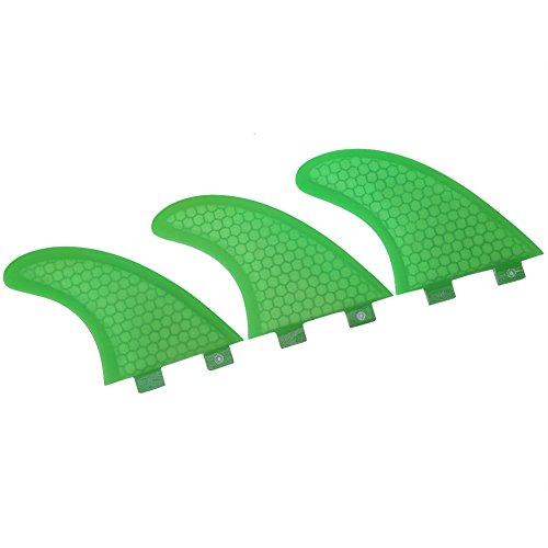 VGEBY1 Aletas de Surf, Verde 3 PCS Fibra de Vidrio Aletas de Tabla de Surf Tabla de Surf Fibra de Vidrio para Tablas de Surf, Tablas de Paddle, Tablas de Kite(G7)