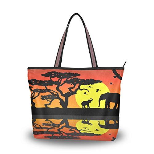 Emoya Damen Schulter-Handtasche Elefanten Afrika Wasser Mond Orange Top Griff Tasche Große Tragetasche, Mehrfarbig - multi - Größe: Medium