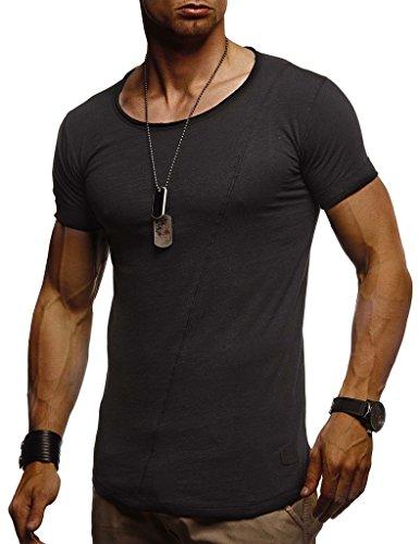 Leif Nelson Camiseta para Hombre con Cuello Redondo LN-8209 Negro Medium