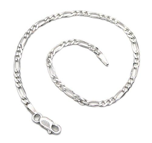 Figaro Armband 925 Sterling Silber rhodiniert 3mm breit Länge wählbar 17 18 19 20 21 cm Figarokette Silberkette Armkette Armkettchen anlaufgeschützt (21)