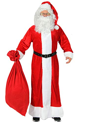 Foxxeo Premium Weihnachtsmann Kostüm mit Mantel für Herren - Größe XXXL-XXXXL