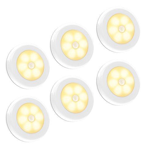 Motion Sensor Light, Iextreme Battery-Powered LED Night Light Step Lights Stair Closet Light Under-Cabinet Lighting Stick Anywhere Lamp Tap Light for Hallway, Cabinet, Closet, Stairs, Bathroom, 6PACK