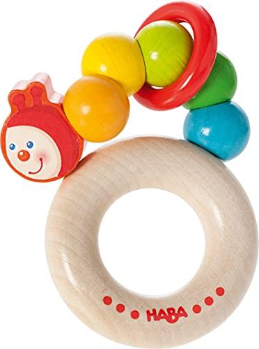 HABA Le hochet chenille arc-en-ciel jouet à saisir, naturel/multicolore