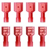 smseace 150PCS Female/Male Red Quick Spade Wire Connectors 22-16 AWG Fully Insulated Nylon Spade Disconnect Crimp FDFN&MDFN1.25-250
