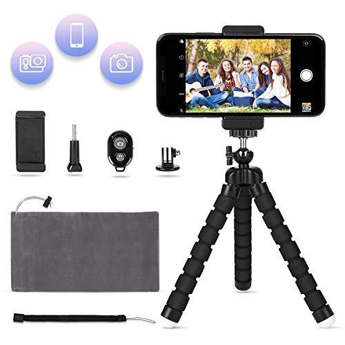 LOETAD Mini Trípode Flexible con Control Remoto Bluetooth Soporte para Smartphone Móvil y Adaptador para Cámara Digital Gopro