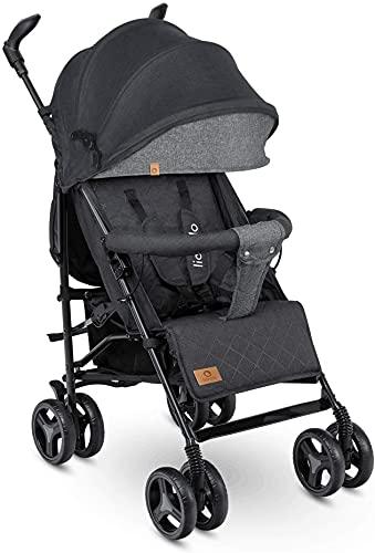 Lionelo Irma Silla de paseo plegable 51 x 80 x 101 cm Diseño ultraligero 7 kg Respaldo ajustable Para niños de hasta 15 kg 6-36M Cinturones de seguridad de 5 puntos Cesta de la compra Negro y gris