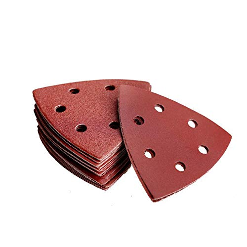 Denveo 95mm 3.7 Inch Triangle Detail Dry Sanding Disc 60/80/120/180/240/320 Grit Sandpaper Assortment, Hook and Loop System Red Paint and Steel Sanding for Random Orbital Sander, Pack of 60 (6 Holes)