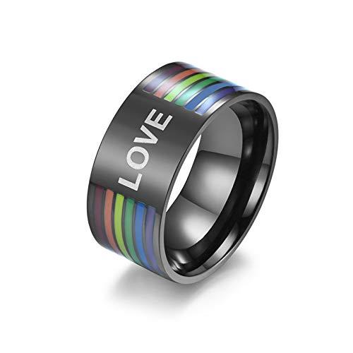 HHW Anillo De Arco Iris De Acero Inoxidable Anillo De Orgullo Gay No Regalos De Joyería De Aniversario De Boda para Damas De Hombre,A,9