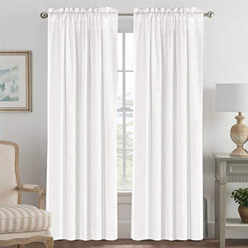 52 - Inch Width by 96 - Inch Length Linen Off White Curtains Light Filtering Draperies for Living Room/Bedroom/Kids Room/Kitchen, Rod Pocket Window Panels -Set of 2, Off White