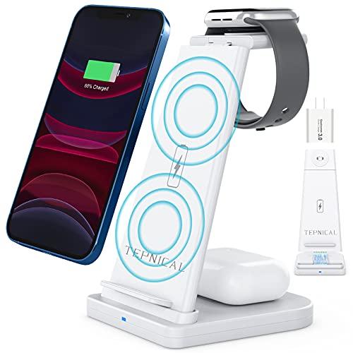 【2021最新強化版】TEPNICAL ワイヤレス充電器 Qi認証 3 in 1急速充電15W/10W/7.5W iPhone 12 / 12 Pro / 12 Pro Max / 11 / 11 Pro / Pro Max / Galaxy S20 /S10 / S10+ / S9 / Note 10/Apple AirPods 2 / AirPods Pro など対応(日本語説明書付き、18WQC3.0アダプター付属)ホワイト