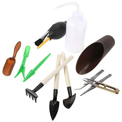 ELENXS 13 Pièces/Set Horticulture Helper Mini Outils de Jardin Jardinage Pelle Rake arrosoir pincettes Brosse de