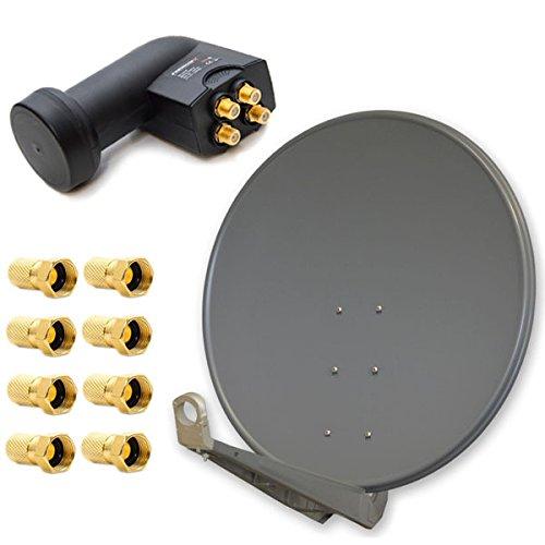 PremiumX Deluxe 100 cm Anthrazit Sat Antenne Satelliten Schüssel Spiegel Alu mit Einem Quad LNB 4 Teilnehmer für Den Direktanschluss mit F-Stecker