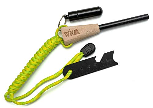 WIKA Feuerstahl, Feuerstarter mit wasserdichter Zunderdose aus Aluminium, Holzgriff und Paracordband, spezielle Magnesiumlegierung für maximale Effektivität, funktioniert auch bei Nässe