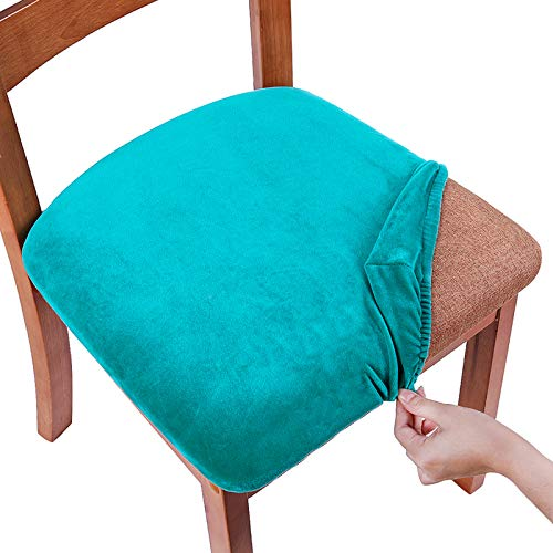 Smiry Original Velvet Dining Chair Seat Covers, Stretch Fitted Dining Room Upholstered Chair Seat Cushion Cover, Removable Washable Furniture Protector Slipcovers with Ties - Set of 4, Teal