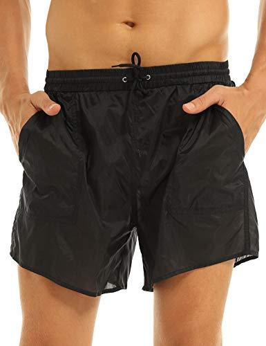Freebily Herren Shorts Transparent Badehose Badeshorts mit Mesh-Slips Schnelltrocknend Schwimmhose Sommer Strand Casual Kurz Hose Schwarz XL