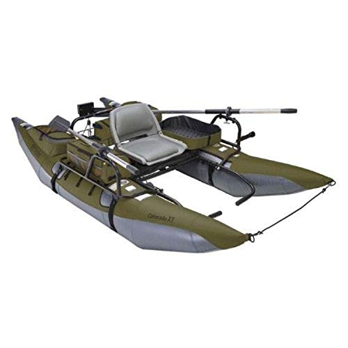 Classic Accessories Colorado XT Inflatable Pontoon Boat With Transport Wheel & Motor Mount, Sage/Gray