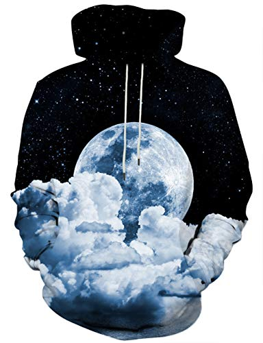 Unisex 3D Novelty Hoodies for Men Women Cool Graphic Pullover Sweatshirts with Pockets-Yq-Black-Medium