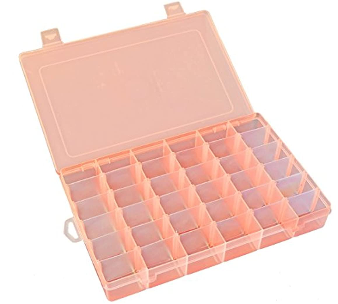 Qualsen Transparent Bead Storage Jewelry Organizer Storage Container Plastic Organizer Box with Adjustable Dividers for Sorting Earrings, Rings, Beads and Other Mini Goods 36 Grid 1PC (Orange)