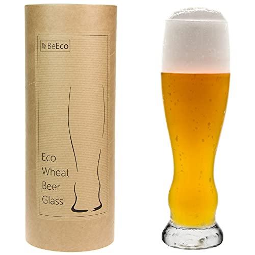 BeEco Öko Weizenglas 490ml | Elegant & Praktisch Craft Bier-Gläser | Bierglas 1er Set | In einer Pappröhre | 100% Recyclebar