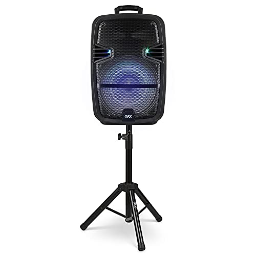 """QFX PBX-616SM 15"""" Bluetooth Rechargeable Speaker with LED Lights, Mic and Stand (2021 Model)"""