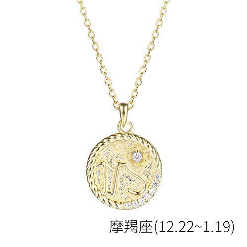 Bgpom Halskette Besteck S925 Sterling Silber Runde Anhänger Weibliche Zwölf Sternbild Halskette Weibliche Schlüsselbeinkette, Steinbock