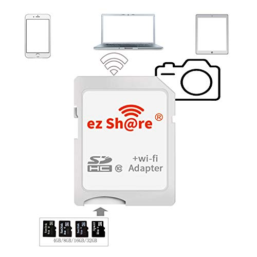 Price comparison product image ez Share 8GB 16GB 32 GB Adapter WiFi SDHC Card Class10 SD Card Wireless Camera Memory Card for DC / DV / DSLR / DPF, etc. (Adapter) TF Card Conversion SD Card