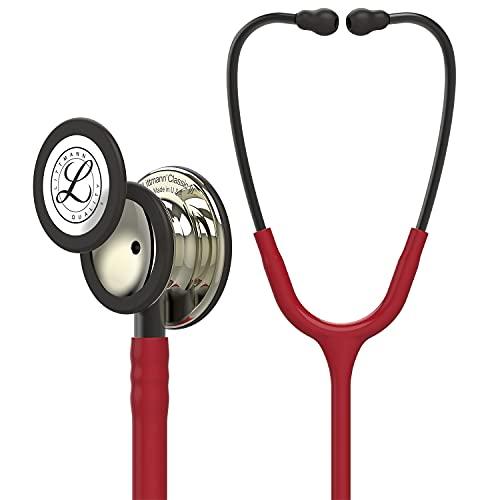 3M Littmann Classic III Fonendoscopio para monitorización, campana de acabado en color Champán, tubo color Granate y vástago y auricular color Humo, 69cm, 5864