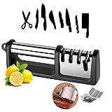 Kitchen Knife Sharpener - 2020 Upgraded 4-Stage Knife Sharpener and Scissor Sharpener, With 304 Finger Guarder and Cleaning Brush