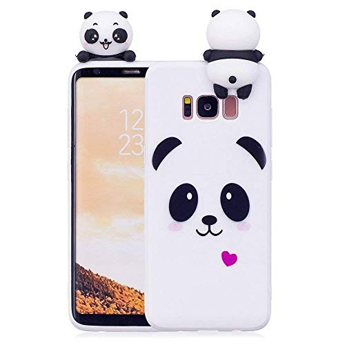 LAPOPNUT Case for Samsung Galaxy S8 Case Soft Back Cover 3D Cartoon Panda Candy Colour Girly Bear Design Slim Flexible Protective Case Cover Bumper for Girls, White