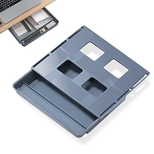 Organizador Cajones Extensible Debajo del Escritorio,Caja Almacenamiento Oculto Autoadhesivo,Bandeja para Oficina Mesa,Guardarropa Accesorios (azul,grande)
