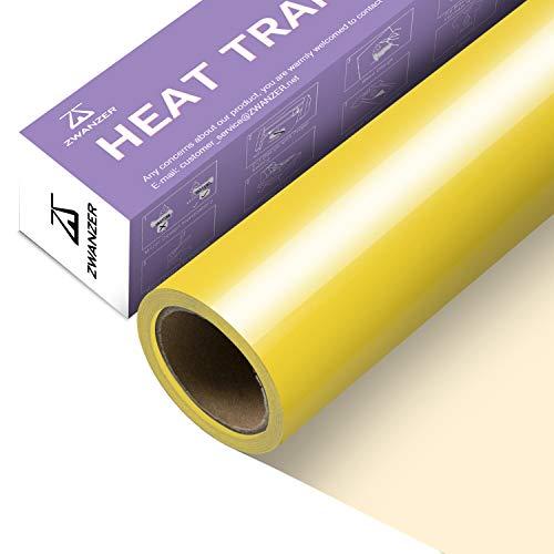 Zwanzer Lámina para plóter textil, 30,5 cm x 3,66 m, lámina flexible para Cricut y Silhouette Cameo, se utiliza en ropa de camiseta DIY y otros tejidos (amarillo)