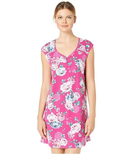 Karen Neuburger Women's Pajama Short Sleeve Pj Sleepdress, Floral Festival Fuchsia, X-Large