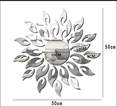 Acryl Spiegel Zon Bloem Muursticker 3D Driedimensionale Glas Woonkamer Slaapkamer Slaapbank Achtergrond Decoratie Zelfklevende Ronde Spiegel