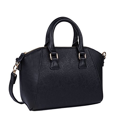 SIX 1 pc. of'Trend' ladies handbag, mini shopper in black leather look with ornament pattern and detachable straps (726-127)