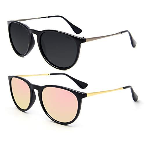ANDOILT Gafas de Sol Polarizadas Vintage para Mujer Hombre Protección UV Lente Retro Redonda con Espejo Negro Marco Gris Lente Negro Marco Rosa Lente