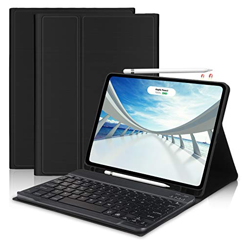 FOGARI Keyboard Case for New iPad Air 4th Generation 2020, Smart Folio Cover with BT Detachable Keyboard for iPad 10.9' & Pro 11', Built in Pencil Holder [Support for Apple Pencil 2 Charging] -Black