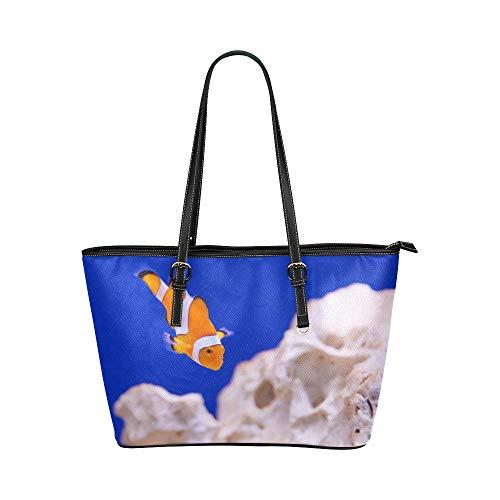 Damen Handtaschen zum Verkauf Anemone Tier Aquarium Clownfisch Marine Ocean Leder Hand Totes Tasche Kausale Handtaschen mit Reißverschluss Schulter Organizer für Lady Girls Womens wiederverwendbare Ei