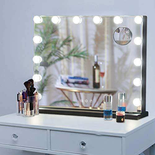 Hansong Schminkspiegel mit Beleuchtung, Hollywood-beleuchteter Spiegel mit 14 dimmbaren LED-Lampen für Ankleidezimmer, Tischspiegel oder Wandmontage, schlankes Metallgestell-Design, schwarz